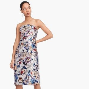 Collection strapless dress in double-print floral